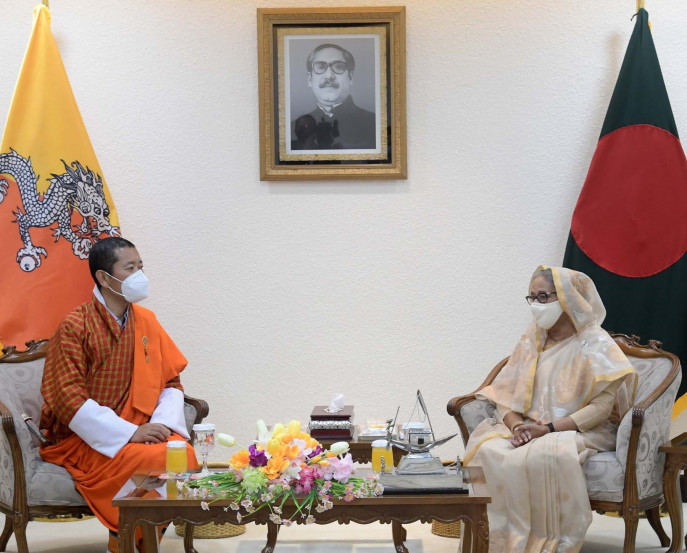 Bhutanese Prime Minister Dr Lotay Tshering paying a courtesy call on Prime Minister Sheikh Hasina at her office. Photo: PID